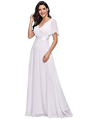 Fully lined, not padded, low stretch Special short sleeve style, unique ruffles in the bust area Glamorous double V-neck evening dress, this beautiful dress features a v neckline, empire waist, flutter sleeves, and subtle high low hemline. Perfect as...