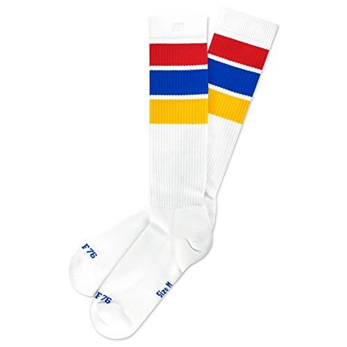 Spirit of 76 Oldschool Classix Hi   Calzini alti retr con strisce   bianco, blu, rosso e giallo a righe   altezza al ginocchio   eleganti calzini tubolari unisex bianco, blu, rosso, giallo. 43-46