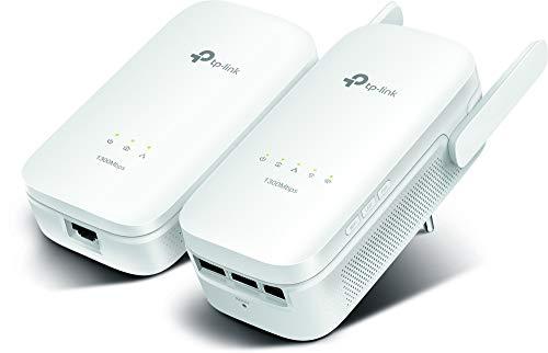 TP-Link TL-WPA8630 KIT - PLC con WiFi Doble Banda y 2 Adaptadores (WiFi 1300Mbps, Extensor, Repetidores de Red, Cobertura Internet, Línea Eléctrica, 4 Puertos, Smart TV, Nintendo Switch y Wii)
