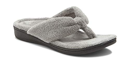 Vionic Women's Indulge Gracie Slipper - Ladies Toe-Post Thong Slippers with Concealed Orthotic Arch Support Light Grey 6 Medium US