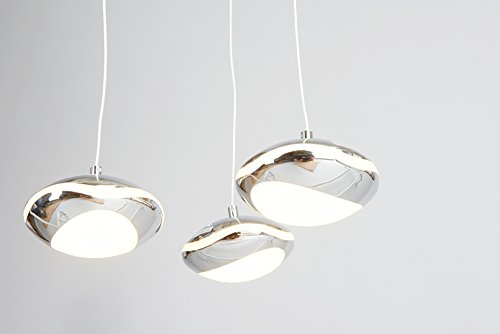 anTes interieur Dimmbare Höhenverstellbare LED Hängeleuchte Clamia Chrom 3-flammig/Pendelleuchte Hängelampe Deckenlampe Pendellampe Deckenleuchte