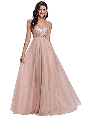 Fully lined, no built-in bras, no stretch Features: sequin, tull dress, a line dress, evening party dress, formal dress, prom gowns The double v neck tulle a line dress, the tulle skirt makes you look elegant, this formal dress is sweet, unique, eleg...