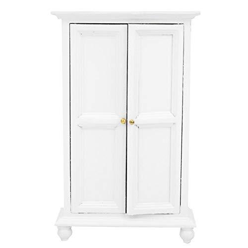 1:12 Cassetto armadio in legno, bianco Mobili camera da letto in miniatura giocattolo Mini vetrina...