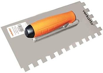 Mivos Taloche pour Colle en Acier Inoxydable, 12x12 mm/Truelle à Dents avec Manche Bi-Composant/Truelle de Lissage Dentée Carrées 12 mm/Fabriqué dans l'UE