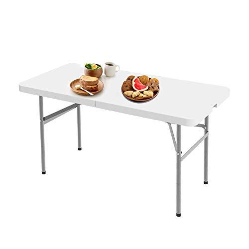 Tavolo Trasportabile, Tavolo Portatile Pieghevole, 122 x 61 cm, Bianco, Pieghevole a metà, Materiale: HDPE, Carico massimo: 100 kg
