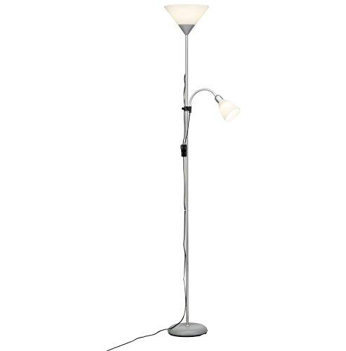 Brilliant Spari LED Deckenfluter mit Lesearm 1,8m Stehleuchte schwenkbar silber/weiß 806 Lumen, 1x E27 9,5W LED-Leuchtmittel inklusive