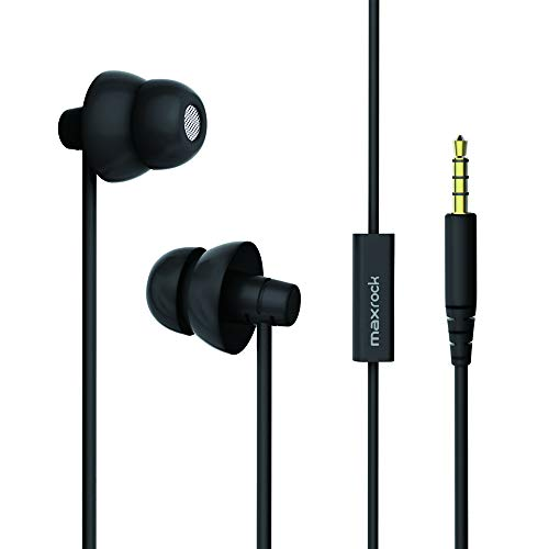 MAXROCK Sleep Earplugs - Noise Isolating Ear Plugs Sleep Earbuds Headphones with Unique Total Soft Silicone Perfect for Insomnia, Side Sleeper, Snoring, Air Travel, Meditation & Relaxation (Black)