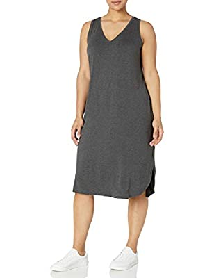 Made in Vietnam Easily dressed up or down, this midi-length tank dress flatters with smooth jersey, a V-neckline, and a curved dropped hem Luxe Jersey - Perfectly rich, smooth fabric that drapes beautifully Side vents, seamed back Start every outfit ...