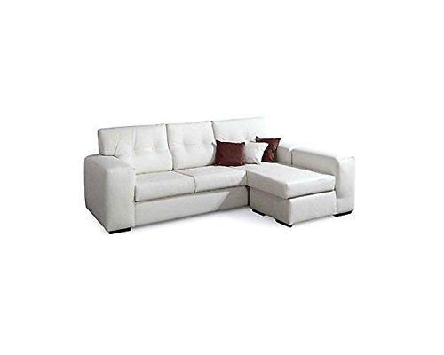 EsteaMobili - Divano angolare in ecopelle da 4posti, stile moderno, prodotto italiano, colore bianco