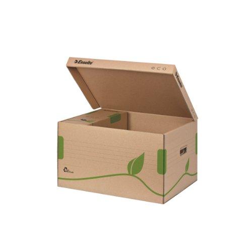 Esselte Ablage- und Transportbox, Obere Öffnung und integrierter Deckel, 100{ce5c689acc9658eb3cfdee1d90e3b2d50d28d16ad5f3cca18d54e04760878341} recycelte Wellpappe, Naturbraun, Eco Archiv Serie, 623918