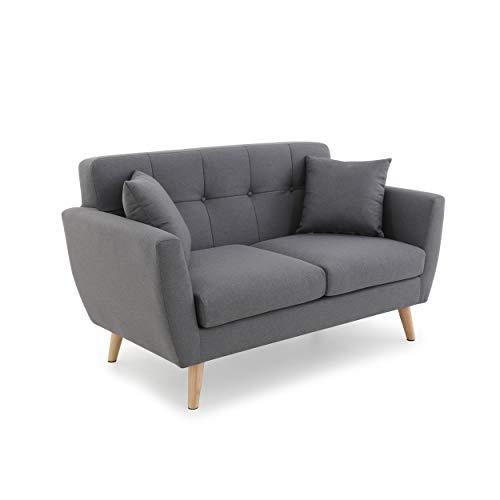 Mc Haus Mas - Divano Gris Oscuro, 2 Posti Relax Tessuto Design Scandinavo con 2 Cuscini, Sala da Pranzo, 150x80x85 cm