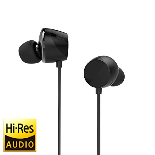 TUNAI Drum Hi-Resolution Audiophile in-Ear Earbud Headphones  Powerful Bass and Lively Sound Stage with Improved Noise Isolation; Comfortable for Workout, Running and Great for Gaming (Shadow Black)