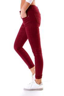 Fashion4Young-4345-Damen-Hose-Rhre-Skinny-Treggings-Slim-Fit-Jeans-Stretch-Denim-bergren-Slimline-Weinrot-XS-34