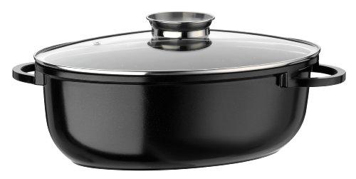 GSW 410571Gourmet Ceramica induzione XLRostiera Ovale con Coperchio in Vetro 8,5L, in Alluminio pressofuso, Nero macchiettato, 38cm 4unit