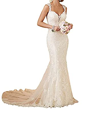Wedding Dress,Lace,Mermaid,Beach,White Color,Sheath,Long,Open Back,Blackless,Tulle Gown with Train,Sweetheart Neck,Bling Lace Applique,Vintage Style,Plus Size Wedding Gowns ♥SIZE CHOOSE: Plus size dress 2-24W and custom size are available. (Please ch...