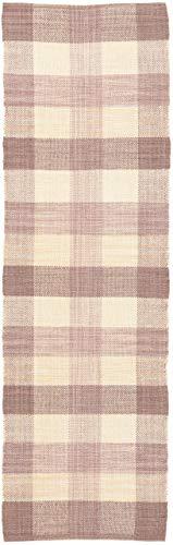 CarpetFine: Tappeto di Lana Kilim Ella Passatoia 75x240 cm Beige - Quadri/Scacchiera