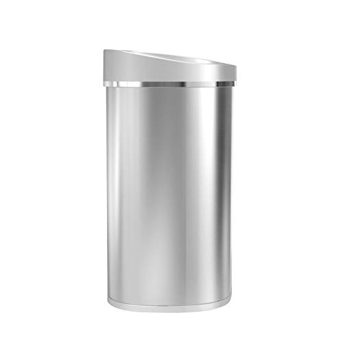 Product Image 1: Ninestars DZT-80-35 Automatic Touchless Infrared Motion Sensor Trash Can, 21 Gal 80L, Heavy Duty Stainless Steel Base (Oval, Brush Trashcan, Silver Lid