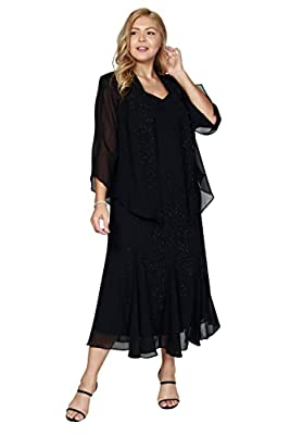 RUNS LARGE- ORDER ONE SIZE DOWN Beading at front of dress. Slightly fitted bodice with godet pleats at skirt Jacket: open-front, sheer, three-quarter sleeves Hits just above ankle. Fully lined - 100% polyester. Occasion: Mother of the bride dresses, ...