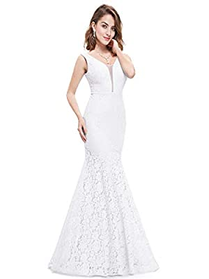 Fully lined, with built-in bras Features: illusion deep V-Neck, sleeveless, floral lace bodice, bodycon mermaid evening dress Delicate floral lace at bodice with deep V-Neck, design, this evening mermaid dress is elegant but sexy Perfect as wedding g...