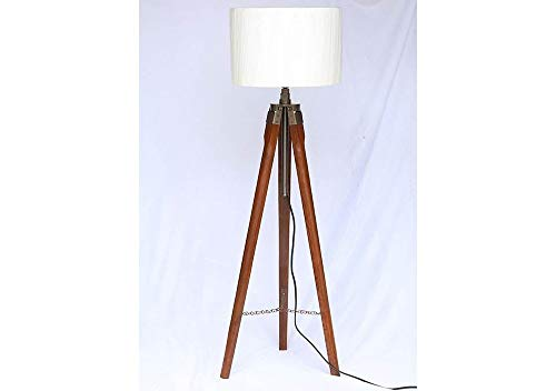 Replicashop Brass Wood Floor Lamp, Off-White, Pack of 1