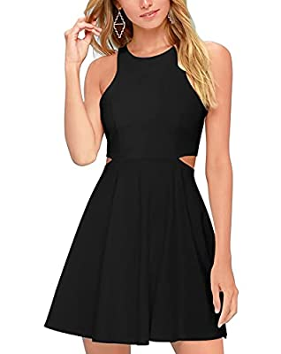 Features: Sweet and cute, Sleeveless, Waist Hollow Out , racerback, one invisible zipper, flared swing, A-line, soft and attractive, summer skater dress Material: Knit Fabric:20% Cotton 80% Spandex, 100% Brand New, Soft Material Occasion: Perfect out...