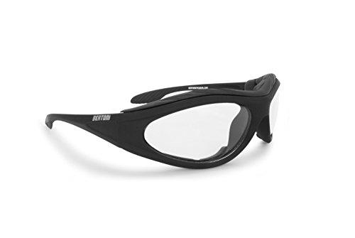 BERTONI Gafas de Moto Antivaho Resistente Viento y Impactos - Inserto de Espuma Extraíble - Negro Matte AF125 Italy (Transparent Lens) - Gafas Motorista