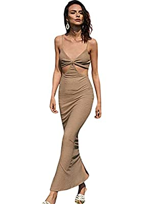 Fabric has slight stretch, skin friendly, comfortable material Cut out, sleeveless, v neck, split hem, maxi dress, cami bodycon dress Occasion: Suit for work, casual, cocktail, party, evening, beach, vacation and daily life Garment Care: Machine wash...