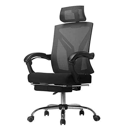 Hbada Ergonomic Office Recliner Chair - High-Back Desk Chair Racing Style with Lumbar Support - Height Adjustable Seat, Headrest- Breathable Mesh Back - Soft Foam Seat Cushion with Footrest, Black