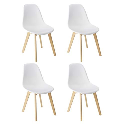 WENKO set di 4 sedie a conchiglia per sala da pranzo, bianche, lavabili, gambe in legno massello di faggio, design scandinavo
