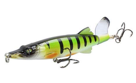 Wobbler, Whopper Plopper, esca per luccio, esca artificiale, pesci predatori, pesci predatori, esche da superficie, 14,5 cm, 20 grammi, coda rotante, pesca (bianco verde)