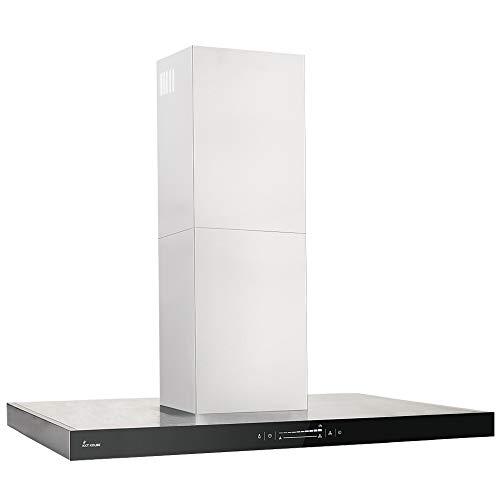 Dunstabzugshaube, Inselhaube (90cm, Edelstahl, schwarzes Glas, Extra-leise, Energieklasse A++, WIFI, 10 Stufen, LED-Beleuchtung, TouchSelect Sensortasten) FLAT-INSEL-5 - KKT KOLBE