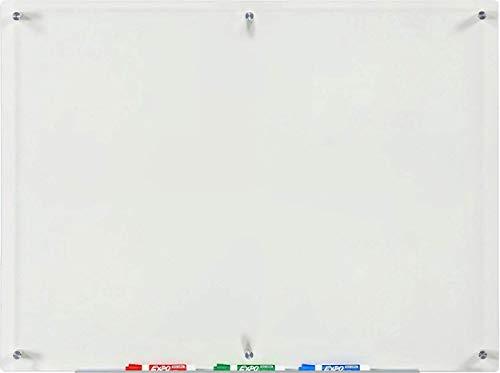 Lavagna a Secco in Vetro Trasparente - 80 cm x 110 cm - Include Vassoio Marcatore in Alluminio (non...
