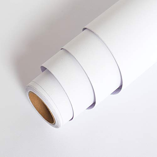 LaCheery 24'x160' Solid Color Matte Textured White Contact Paper Vinyl Adhesive Paper Peel and Stick Wallpaper...