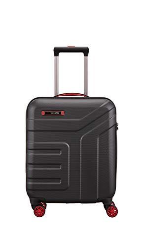 travelite 4-Rad Handgepäck Koffer mit TSA Schloss erfüllt IATA Borgepäck Maß, Gepäck Serie VECTOR: Robuster Hartschalen Trolley in stylischen Farben, 072047-01, 55 cm, 40 Liter, schwarz/rot