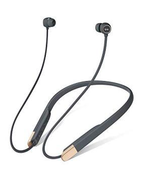 AUKEY écouteur Bluetooth 5 avec Jeu magnétique/Pause, 3 Modes d'égalisation, aptX Faible Latence, Charge Rapide USB-C, écouteur sans Fil Flexible avec 8 Heures de Jeu et à l'abri de la Sueur pour Gym