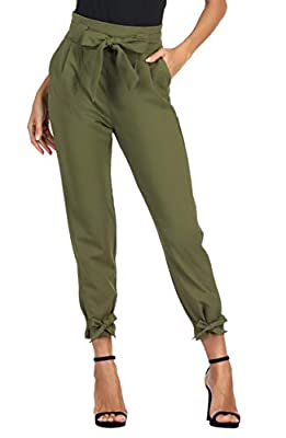 ✅【Fabric】- 95%Polyester+5%Spandex,Soft Fabric & Comfy Casual Pants for all seasons. A must have in your wardrobe, can be worn with multiple looks, keeping you stylish all day long. ✅【Features】- Cropped length(9/10) pencil pants / Back waist is elasti...