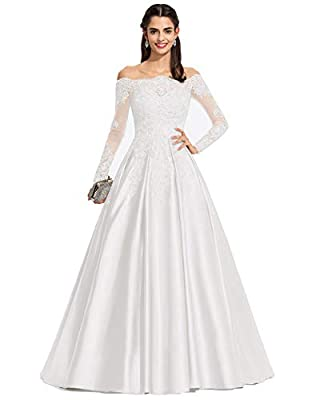 ✡This gorgeous ball gown features off-the-shoulder neckline, illusion long sleeve, lace appliqued satin full length skirt complete the look. You will receive many compliments on this. 25+ hot colors and US 2-US 26W sizes for your choice, custom-made ...
