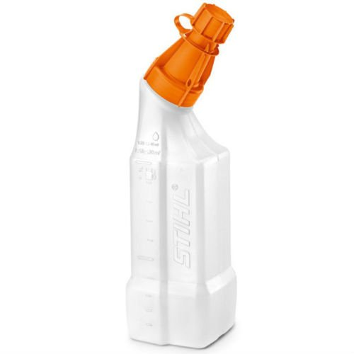 Bottiglia miscelatrice STIHL da 1 lt con dosatore graduato per preparazione miscela.