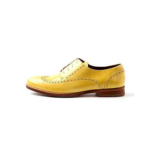 Beatnik Shoes Zapatos de Cordones Estilo Oxford Blucher de Mujer Amarillos en Piel Beatnik Ethel Lemon Yellow, Talla : 39