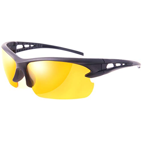 Night Driving Glasses for Men and Women Safety Sunglasses with HD Yellow Lens Plastic Frame Anti Glare UV 400 Protection