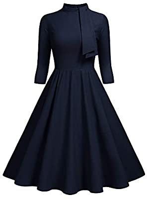 SIZE RECOMMEND: US 4/6(Small), US 8/10(Medium), US 12/14(Large), US 16(X-Large), US 18(XX-Large) Suit for Evening Party and Wedding,Outdoor Vintage Half Collar Style, Tie Design On The Neck, Sleeveless Retro Swing Dress, Knee Length Please Wash It Wi...