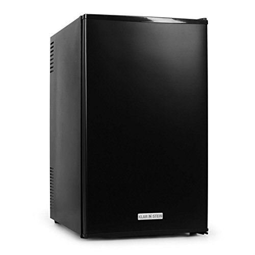Klarstein - MKS-9, mini frigo bar, G, 66 L, silenzioso, 30 db, ca. 43 x 72,5 x 51,5 cm, 2 ripiani, scompartimenti per bottiglie, temperatura regolabile 3 livelli, nero opaco, nero