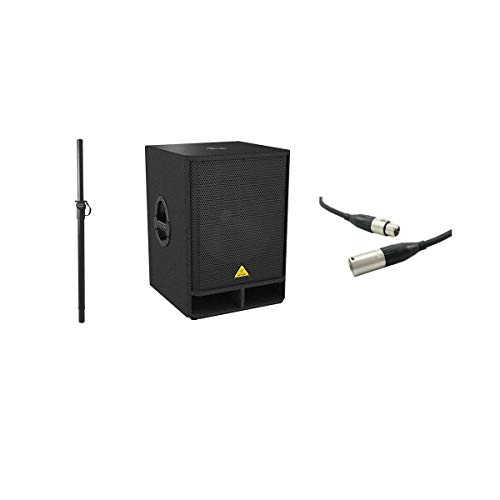 Behringer Eurolive VQ1800D High-Performance Active 500-Watt 18in PA Subwoofer with Stereo Crossover, with Excellines 20' XLR (M) to (F) Lo-z Mic Cable, On-Stage Adjustable Subwoofer Attachment Shaft
