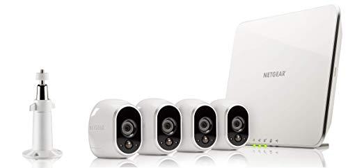 Arlo VMS3430 Sistema di Videosorveglianza Wi-Fi con 4 Telecamere di Sicurezza senza Fili a Batteria, HD, Visione Notturna, Interno/Esterno, App Android e iOS, Funziona con Alexa e Google Wi-Fi