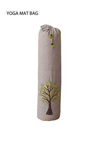 KANYOGA Cotton Yoga Exercise Fitness Durable Mat Bags/Cover for Any Standard Size Mats (Beige & Light Green, L 74 x W 25 cm)