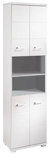 HOMEXPERTS Badezimmer-Hochschrank NUSA / Badschrank Hochglanz weiß lackiert / Badezimmerschrank 4 Türen mit offenen Elementen & viel Stauraum / 50 x 31,5 x 192cm (BxTxH)