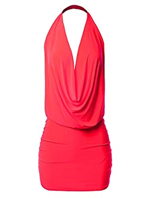 Deep Sexy V-neck Dress / Mini Dress / Draped halter neck / Sleeveless / Backless Lightweight / Soft and Stretchable / Slinky fabric Perfect for nightclub, party, night out, cocktail, evening, wedding, dinner and any special occasions Hand wash in col...