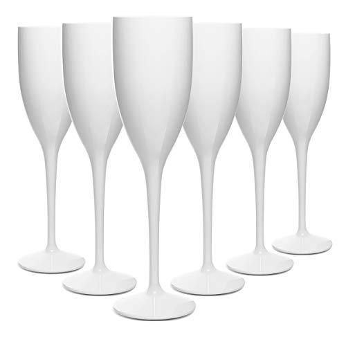 RB Flute Da Champagne Bianca Plastica Premium Infrangibile Riutilizzabile 13cl, Set di 6