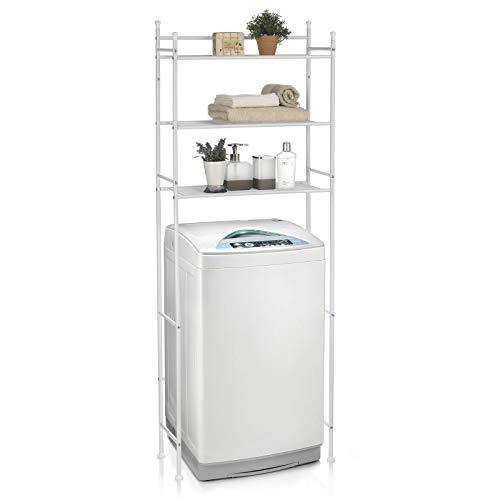 CARO-Möbel Waschmaschinenregal LAVADORA mit 3 Ablagen Toilettenregal Badezimmerregal Bad WC Stand Regal in weiß