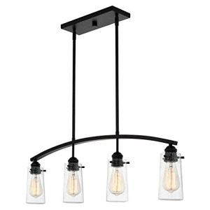 Kira Home Rayne 33' 4-Light Modern Farmhouse Arched Island Light, Seeded Glass Shades + Black Finish